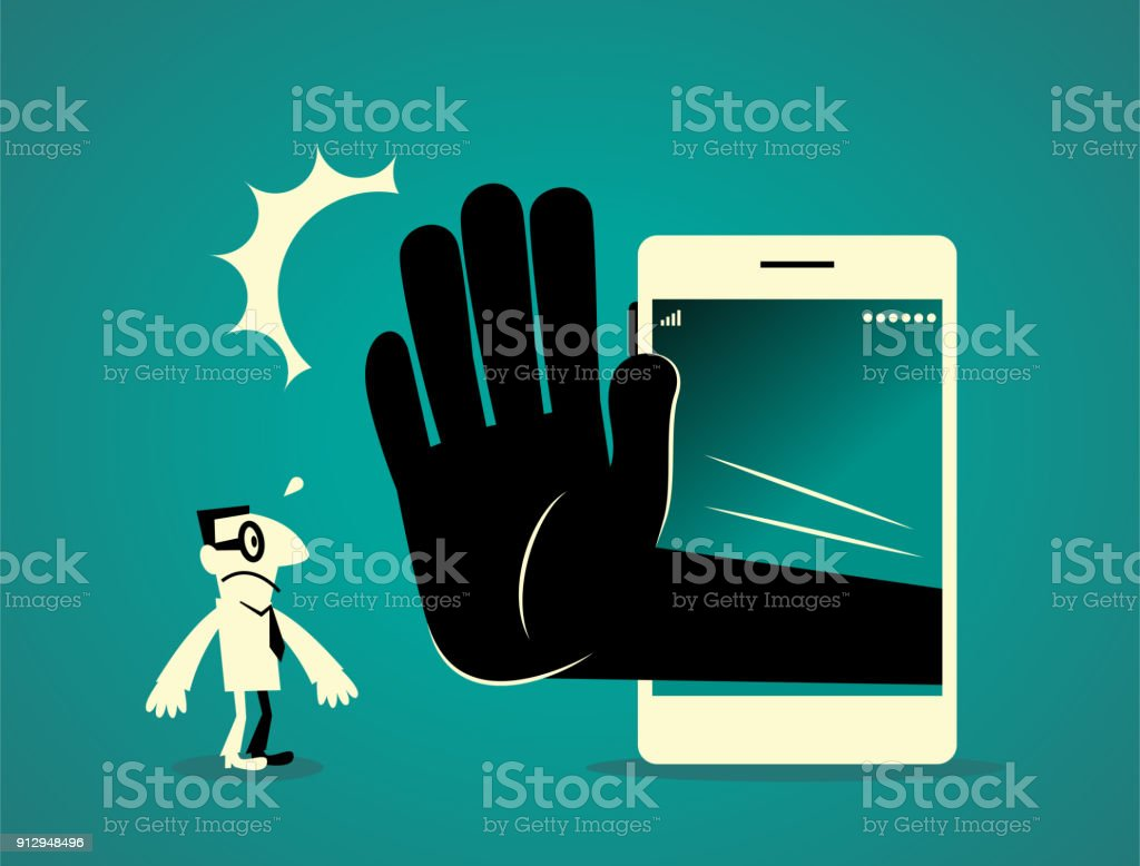 Businessman standing in front of a big smart phone (mobile phone) with a big hand making stop gesture (No!) vector art illustration