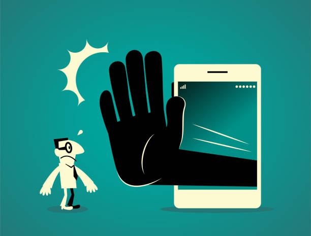 Businessman standing in front of a big smart phone (mobile phone) with a big hand making stop gesture (No!) Businessman Characters Vector art illustration.Copy Space, Full Length. addict stock illustrations