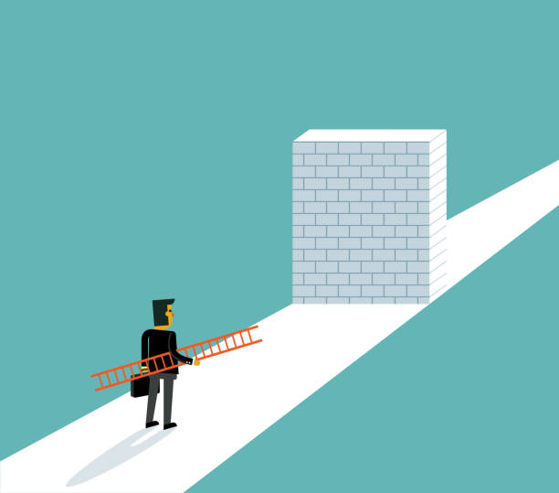 Businessman standing in front of a large brick wall The Way Forward obstacle course stock illustrations
