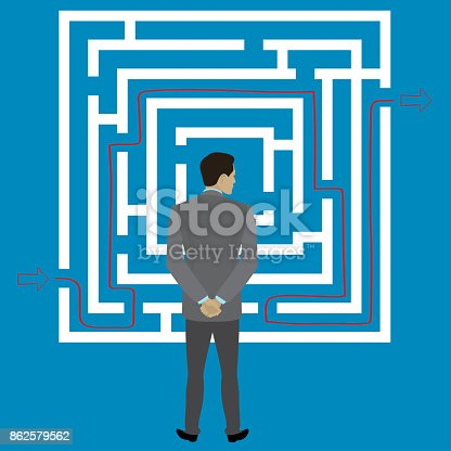 Businessman standing in front of a maze with a solution to success,stock vector illustration