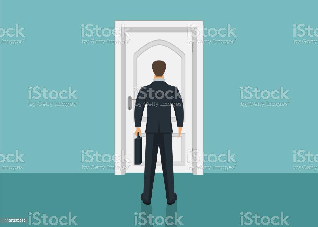 Businessman standing in front of door. Choosing the way. Moving...