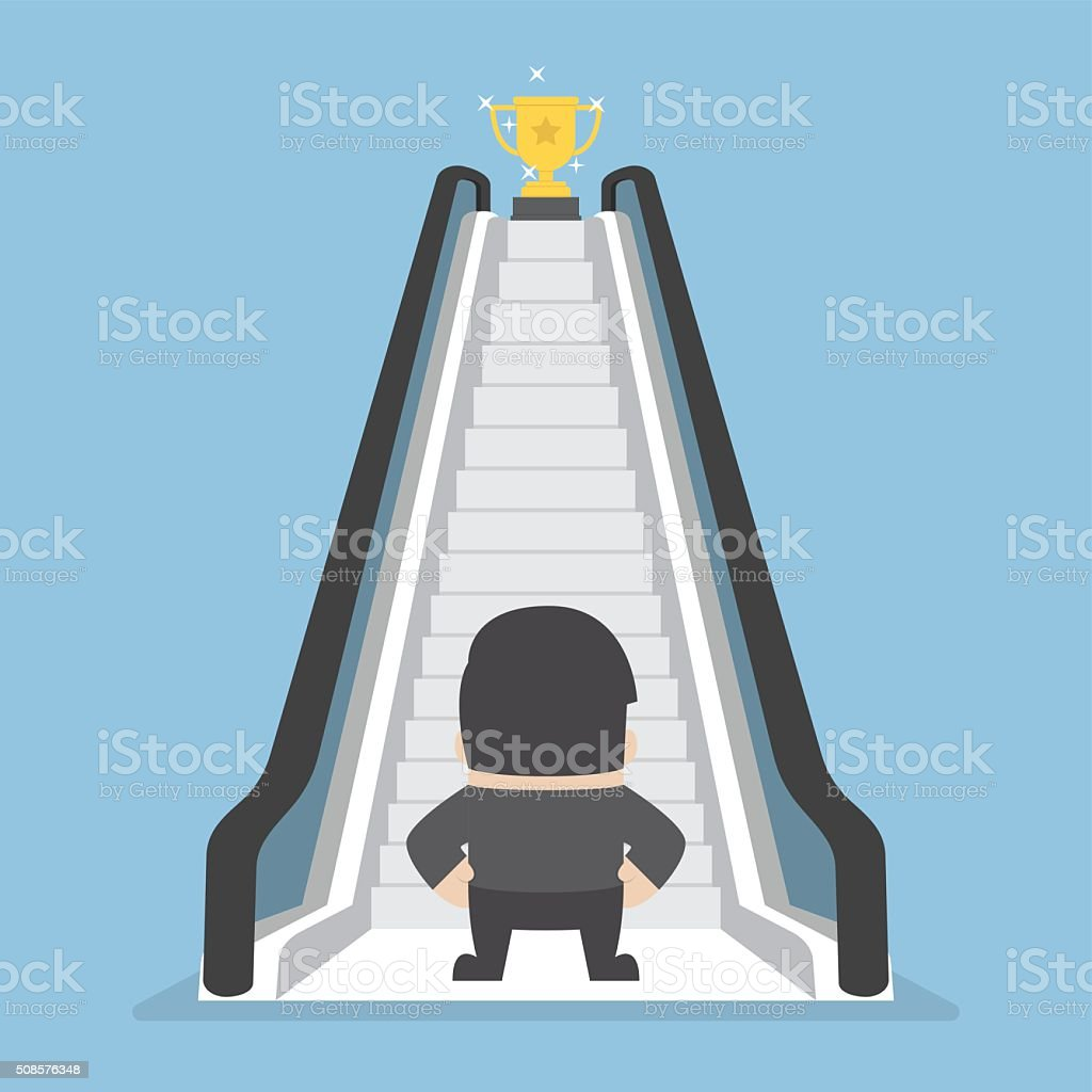 Businessman standing in front of escalator that leads the trophy royalty-free businessman standing in front of escalator that leads the trophy stock illustration - download image now