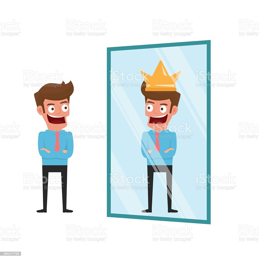 Businessman standing in front of mirror can see successful reflection. vector art illustration