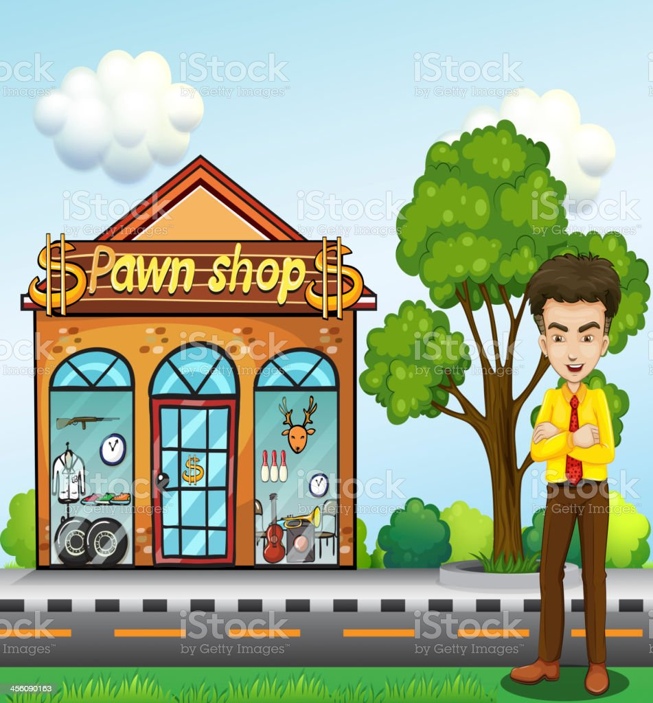 businessman standing in front of the pawnshop royalty-free stock vector art