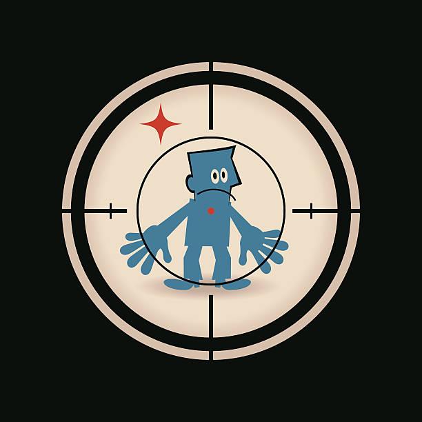 geschäftsmann, der im fadenkreuz zentrum (pistole) gewehr blick in die - kopfschüsse stock-grafiken, -clipart, -cartoons und -symbole