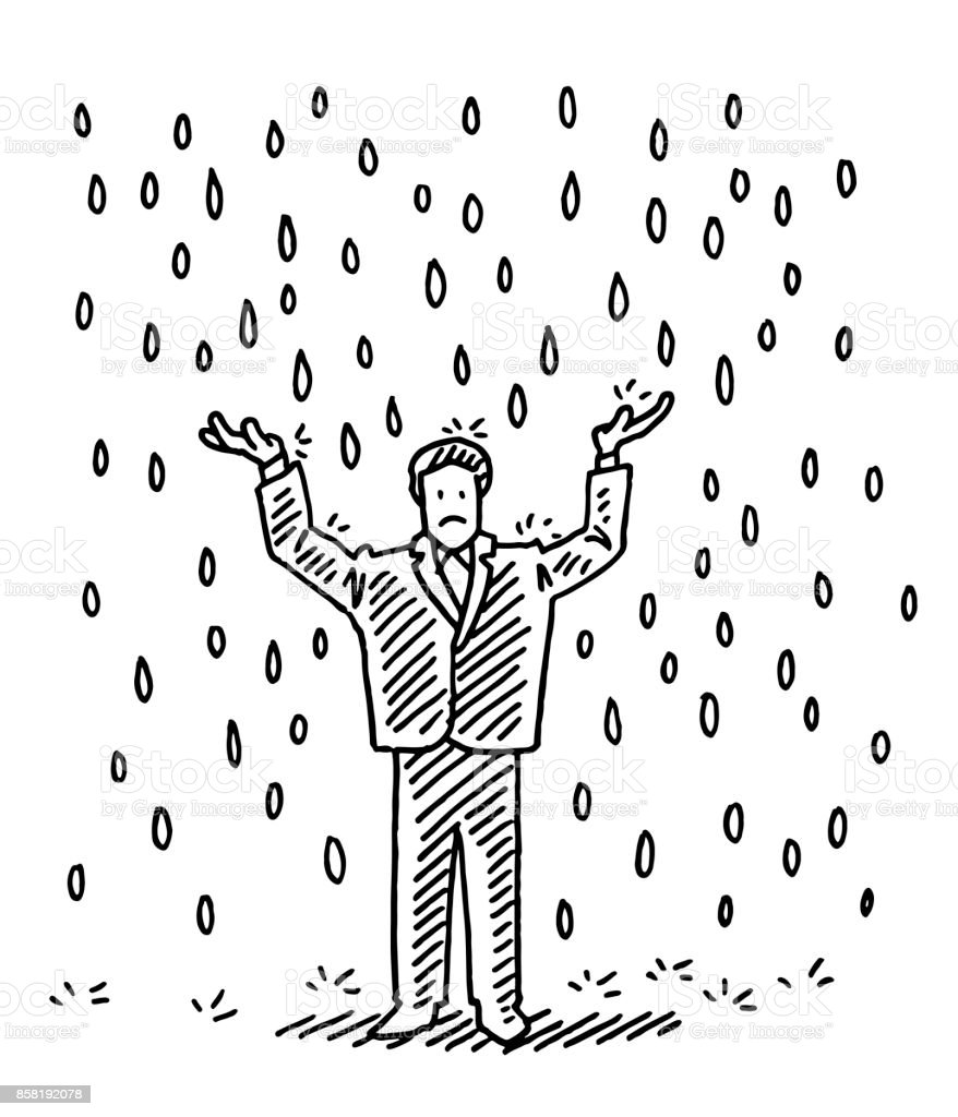 Businessman Standing In The Rain Drawing vector art illustration