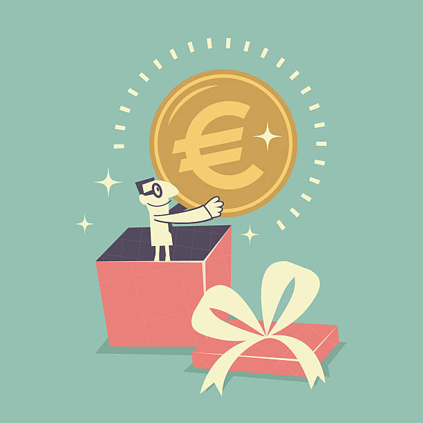 stockillustraties, clipart, cartoons en iconen met businessman standing inside gift box, holding euro currency sign coin - overhemd en stropdas