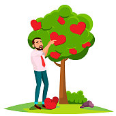 Businessman Standing Near Tree Blossoming With Hearts Vector. Isolated Illustration