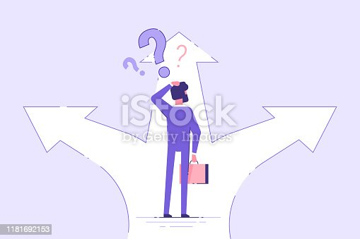 Businessman standing on a crossroad and choosing direction. Business concept. Modern vector illustration.