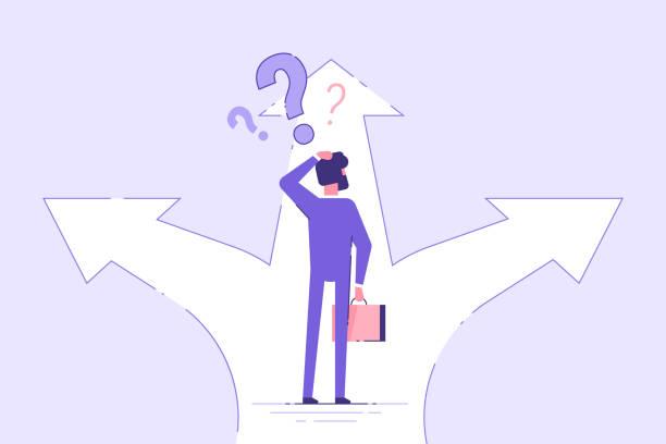 商人站在十字路口,選擇方向。經營理念。現代向量插圖。 - 不確定 幅插畫檔、美工圖案、卡通及圖標