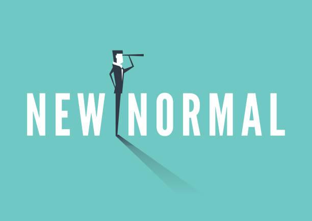 illustrazioni stock, clip art, cartoni animati e icone di tendenza di businessman standing on a new normal text and carrying binoculars. business vision new normal concept. - new normal