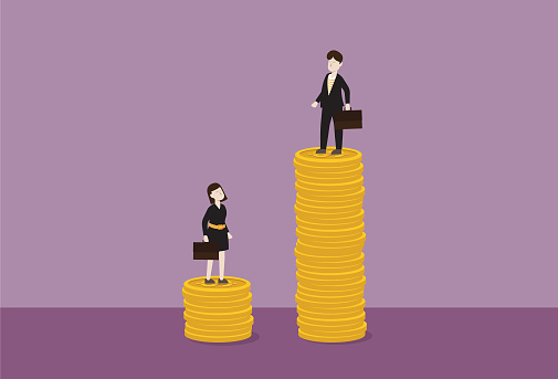 Businessman standing on a stack of the coin higher than a businesswoman