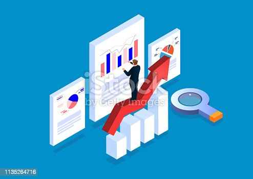 Businessman standing on arrow analyzing page data