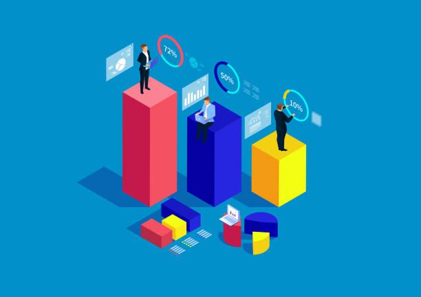 geschäftsmann steht auf balkendiagramm analyse und statistiken - broker stock-grafiken, -clipart, -cartoons und -symbole