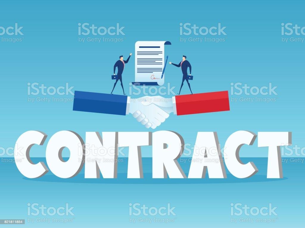 Businessman Standing On Big Handshake And Big Word Contract Business