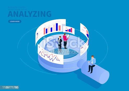 Businessman standing on magnifying glass analyzing data