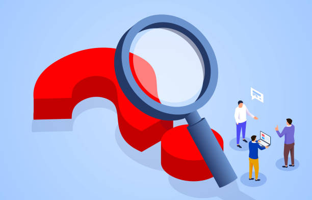 Businessman standing on magnifying glass observing huge question mark vector art illustration