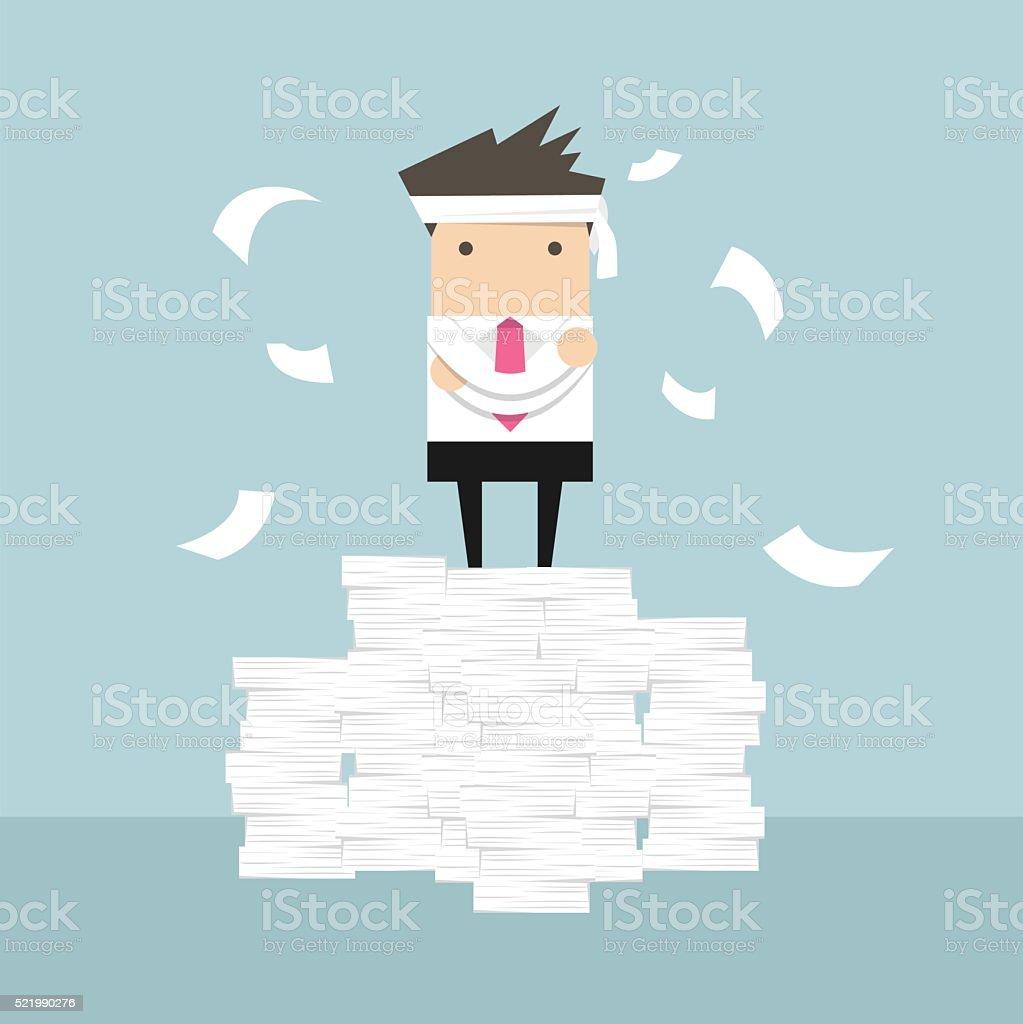 Businessman standing on paperwork vector art illustration