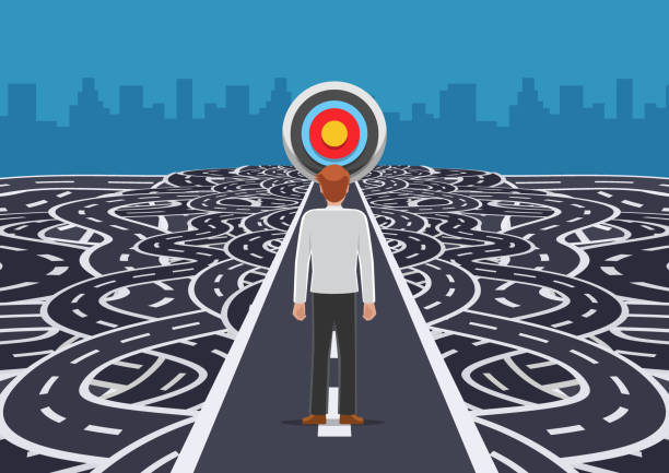 businessman standing on road that cutting straight to the target - complexity stock illustrations