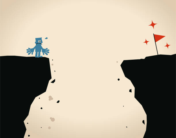 Businessman standing on the edge of the cliff and looking the red flag in opposite side is thinking about how to cross over the cliff vector art illustration