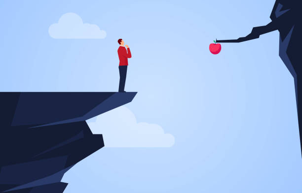 Businessman standing on the edge of the cliff thinking about how to get the apple across the cliff Businessman standing on the edge of the cliff thinking about how to get the apple across the cliff picking harvesting stock illustrations