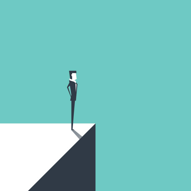 Businessman standing on the edge. Risk and challenge business concept. vector Businessman standing on the edge. Risk and challenge business concept. vector cliff stock illustrations