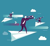 Vector illustration - Businessman standing on the paper plane