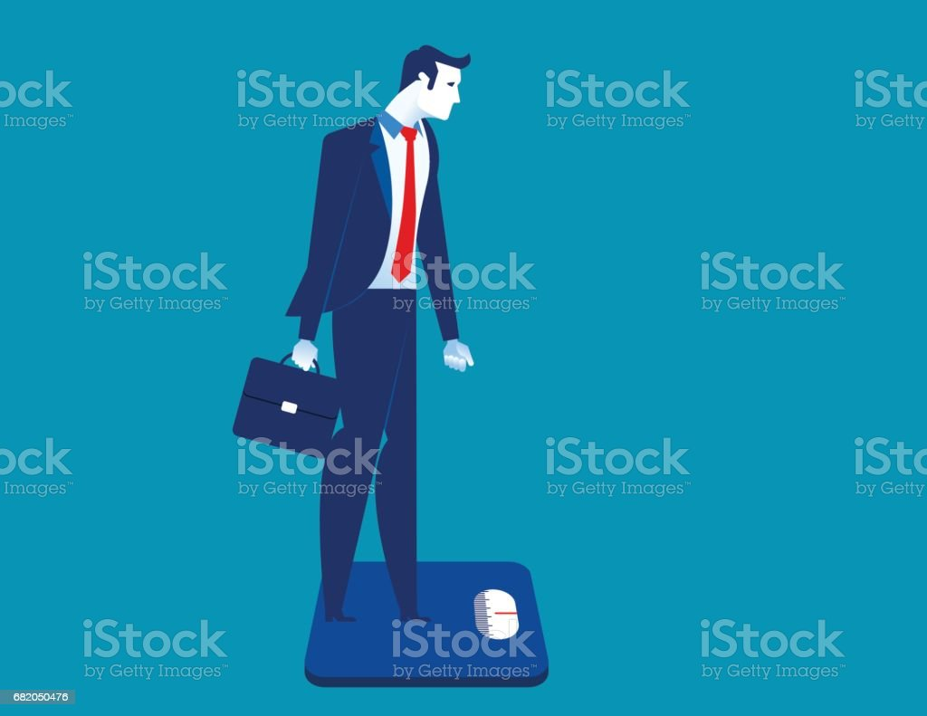 Businessman standing on the scale. Concept business illustration. vector art illustration