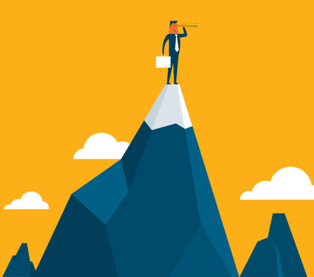 Businessman standing on top of the mountain Business People investment planning ceo stock illustrations