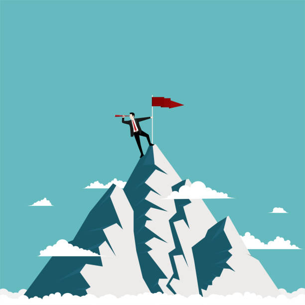 Businessman standing on top of the mountain Businessman standing on top of the mountain using telescope looking for success, Concept business vistion, Illustration vector flat mountain top stock illustrations