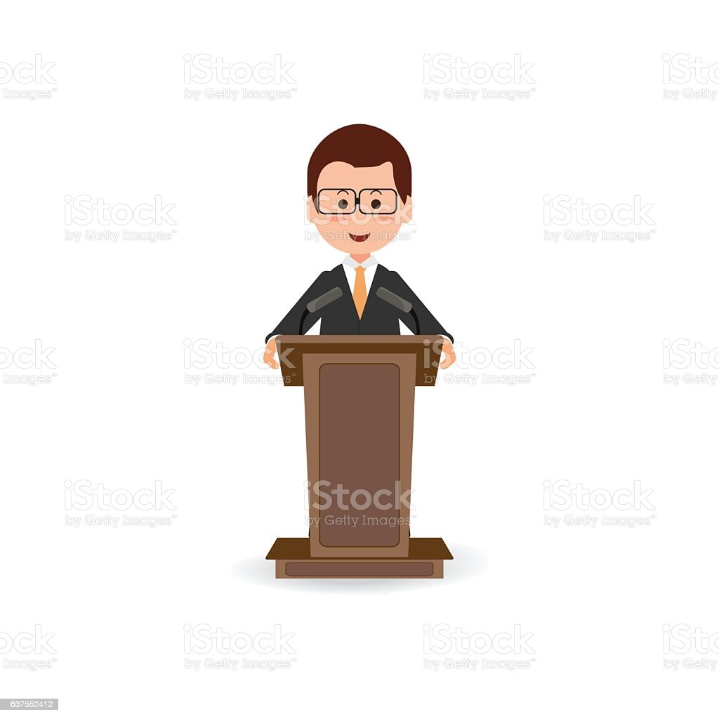 Businessman standing to speaking and presentation on podium. vector art illustration