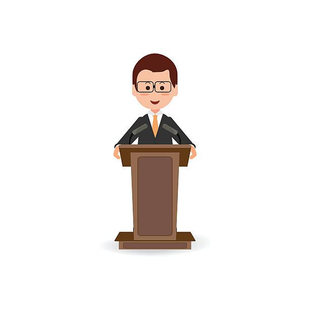 businessman standing to speaking and presentation on podium. - 政治家点のイラスト素材/クリップアート素材/マンガ素材/アイコン素材