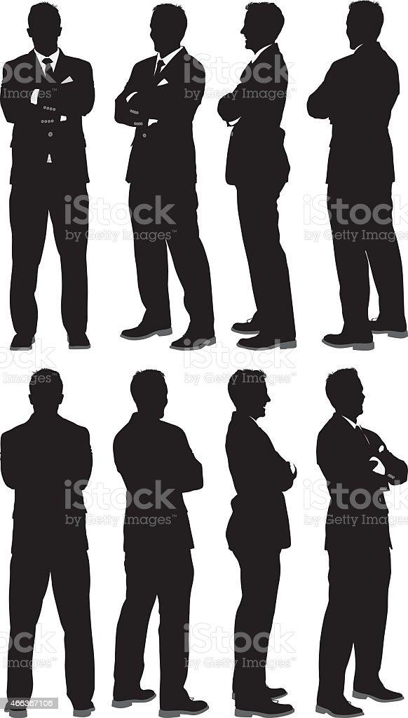 Empresario de pie con los brazos cruzados - ilustración de arte vectorial