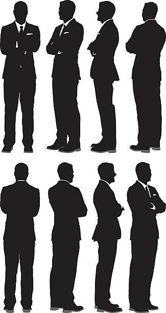 illustrazioni stock, clip art, cartoni animati e icone di tendenza di uomo d'affari in piedi con le braccia incrociate - ritratto 360 gradi