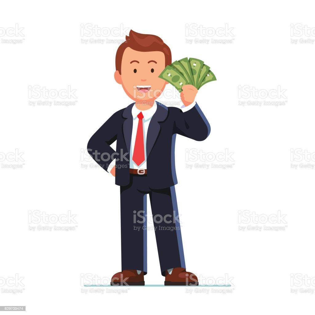 Empresario de pie con el ventilador de dinero en dólares - ilustración de arte vectorial