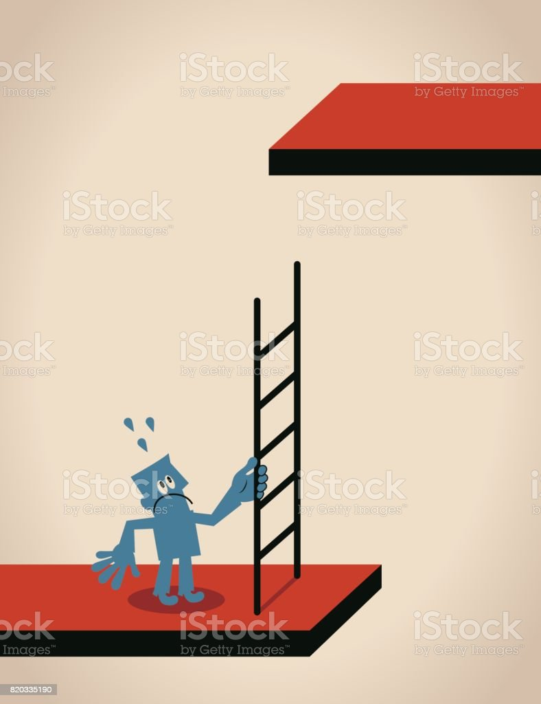 Businessman (man) standing with ladder that is too short vector art illustration