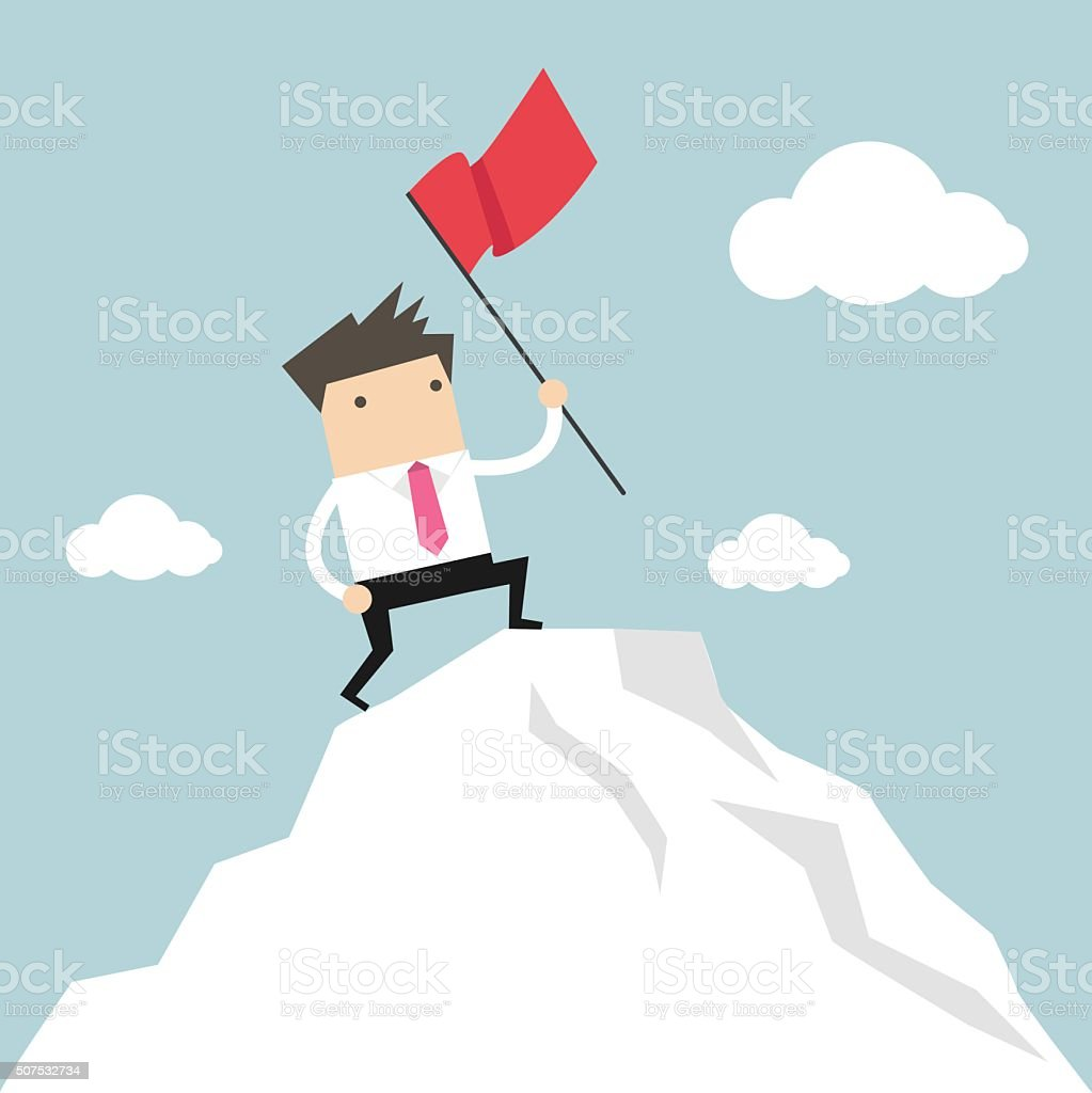 Businessman standing with red flag on mountain peak vector art illustration