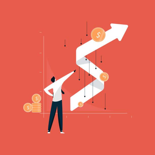 ilustrações, clipart, desenhos animados e ícones de empresário de pé com gráfico de crescimento bem sucedido após efeito corona, crescimento do negócio após recessão - economia
