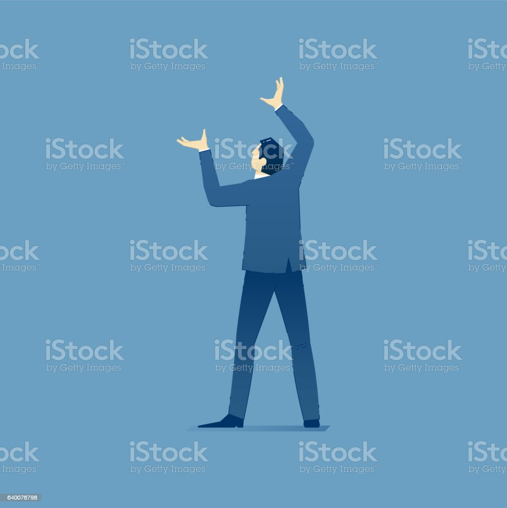 Businessman stands and holds something over his head vector art illustration