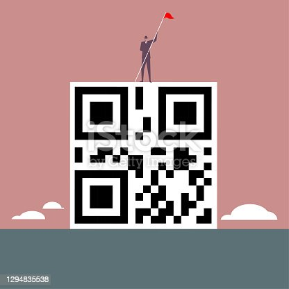 istock A businessman stands at the top of the QR code. 1294835538