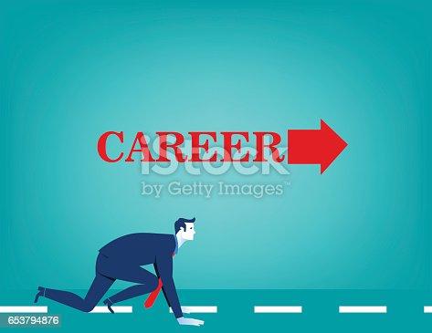 Businessman Start The Career Arrow Concept Business