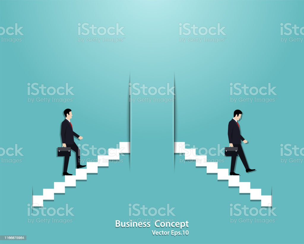 Businessman startup and businessman fail in business concept. Vector...