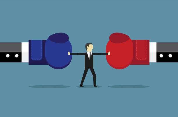 ilustraciones, imágenes clip art, dibujos animados e iconos de stock de conflicto de parada de empresario - lucha