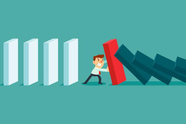 Geschäftsmann stoppt fallenden Dominoeffekt – Vektorgrafik