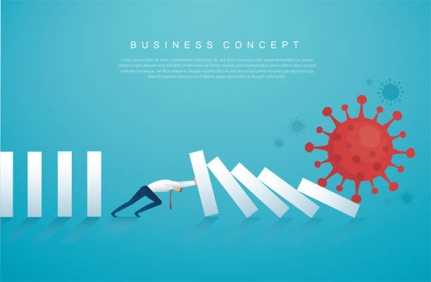 businessman stopping the domino effect from Coronavirus  (COVID-19) vector illustration, EPS10 businessman stopping the domino effect from Coronavirus  (COVID-19) vector illustration, EPS10 crisis stock illustrations