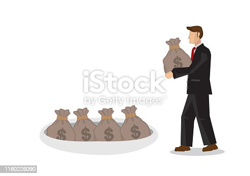 Businessman storing his money in a hole. Concept of investing, savings; fund deposit or asset building. Isolated vector Illustration.