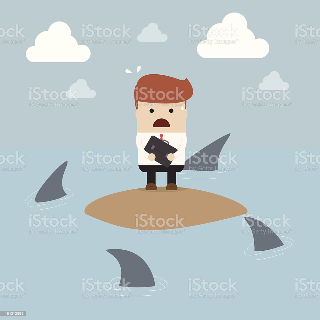 Businessman stranded in an island surrounded by sharks vector art illustration