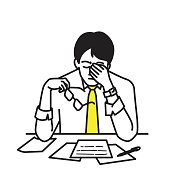 Vector illustration portrait character of businessman, sitting at his table, workplace, covering his face with hands, holding glasses to relax, expressing stressed emotion. Outline, contour, line art, hand drawn, cartoon, doodle, simple color design.