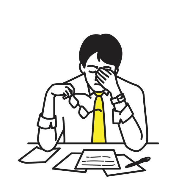 illustrazioni stock, clip art, cartoni animati e icone di tendenza di businessman stressed at his workplace - uomo stanco
