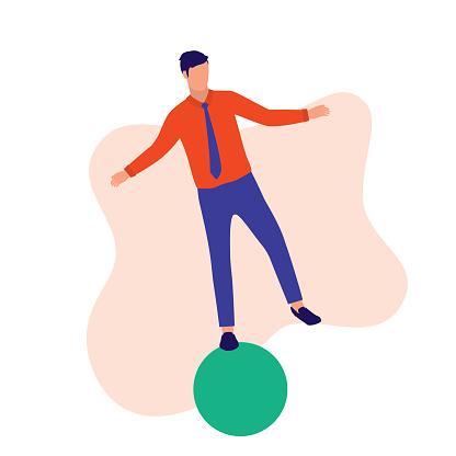 Man Balancing On Ball.